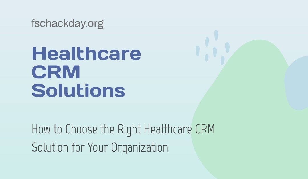 Healthcare CRM solutions is displayed on a light background alongside the website URL.
