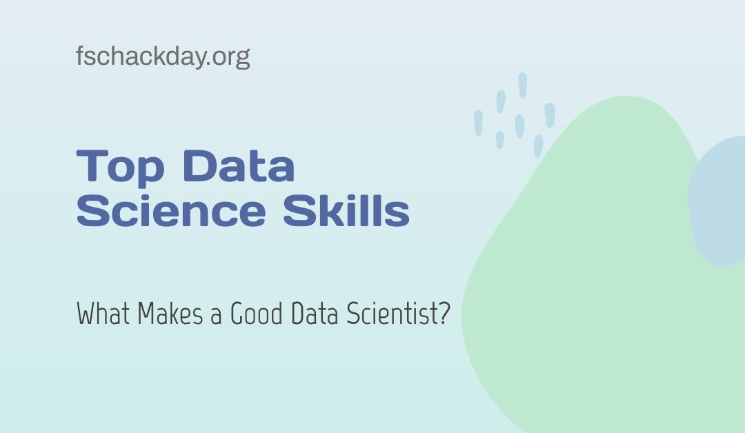 Data science skills is displayed on a pink background.